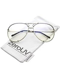 50e2e96fd6c5 zeroUV - Oversize Rimless Unique Nose Piece Clear Lens Aviator Glasses 67mm  (Silver   Clear