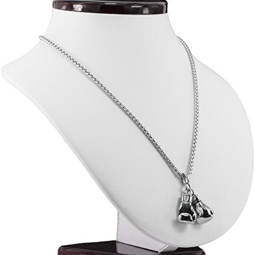 MESE London Boxhandschuh-Halskette Edelstahl-Kette Männer Silber Anhänger  Elegante Geschenkbox Abbildung 3