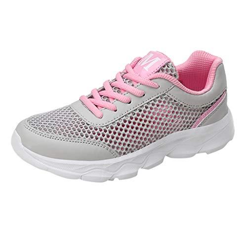 Damen Sportschuhe Mesh Atmungsaktives Sneaker Bequem Schnürer Laufschuhe Turnschuhe Straßenlaufschuhe Freizeitschuhe mit Snake Optik (EU:39, Rosa) -