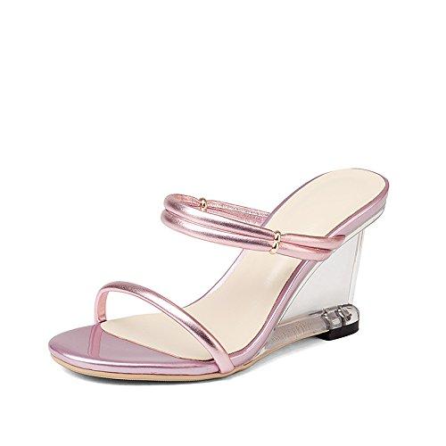 XY&GKSommer rosa Hausschuhe Leder Hausschuhe mit Frauen Sommer Xia Po High Heel Sehne Ende Crystal Sandalen, komfortabel und schön Thirty-fivePink