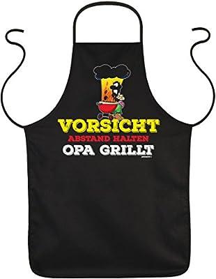 Schürze zum Grillen - Vorsicht Abstand halten Opa grillt - witzige Geschenk-Idee für Griller im Set mit lustiger Urkunde