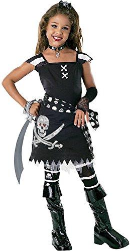 Fancy Me 5 Stück Mädchen schwarz weiß Piraten büchertag Halloween Party Kostüm Kleid Outfit 3-10 Jahre - Schwarz/weiß, 8-10 Years, Schwarz/weiß