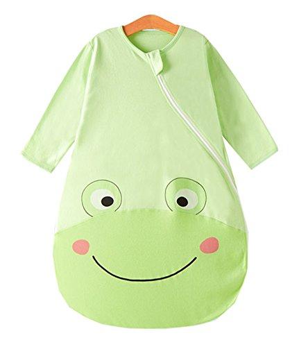Chilsuessy Baby Schlafsack 100% Baumwolle Sommer 0.5 Tog ungefuettert Kinderschlafsack Kleines Kind Schlafanzug Pyjamas, Gruener Frosch, 75/Koerpergroesse 70-80cm (Frosch Baumwoll-schlafanzug)