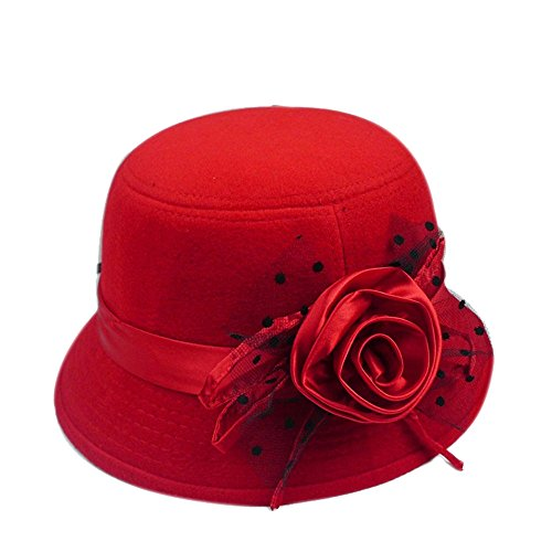 girl-women-lady-fashion-autumn-winter-warm-lace-bowknot-flower-bowler-hat-fisherman-hat-caps-red
