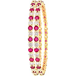 Ratnavali jewels Beautiful CZ/AD Studded Gold Plated Traditional Red Ruby White American Diamond Bangles Set for Women RVA600 (2.6)