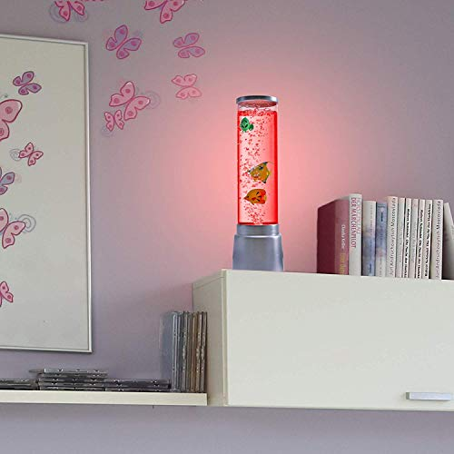 Columna de Agua Cambia de Color Led-Sprudelsäule 36cm de Alto Ø 12,5cm Columna, Lámpara de Mesa para Habitaciones de Niños, Lámpara con Peces Lámpara Decorativa + Linterna LED
