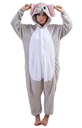 Grau Elephant Kostüm Adult - Tonwhar Unisex Erwachsene Pyjama Kostüm Cosplay Homewear Lounge Wear - Grau - X-Large