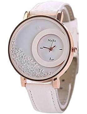 Fortan Damen Treibsand Strass Kleine Dial-Leder-Band-Armband-Armbanduhr-Weiß