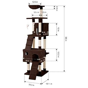 LANGRIA Arbre à Chat Griffoir Grand pour 3-4 Chats avec Hamac Confortable Plateformes d?Observation 2 Condos et 10 Troncs à Griffer en Sisal pour Jouer Griffer Grimper et Dormir (173 cm, Marron)