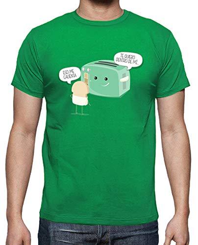 latostadora - Camiseta Tostadora Atrevida para Hombre Verde Pradera M