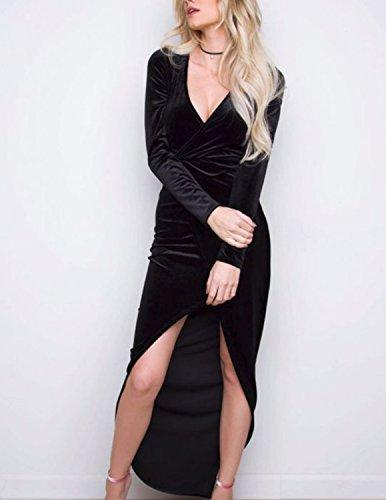 MODETREND Damen Kleid Abendkleider V-Neck Ballkleider Samt Langarm Festlich Einfarbig Kleider Partykleid Cocktailkleid Schwarz