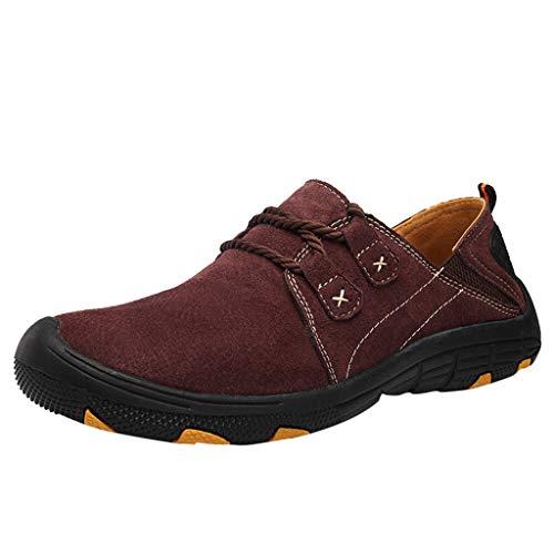 Xmiral Uomo Scarpe casual uomo grandi dimensioni scarpe casual trekking scarpe sportive uomo traspiranti 44 Vino