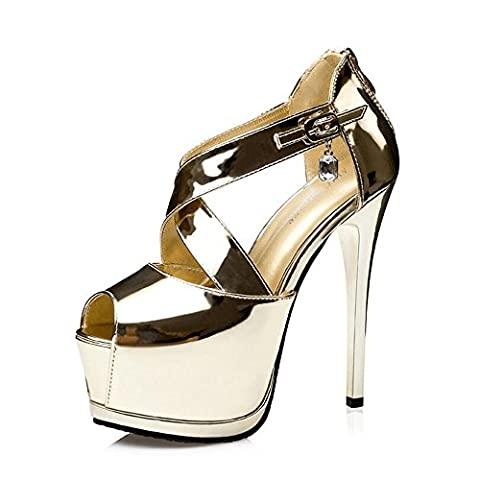 Women's Patent Leather Ankle Straps Sexy High Heel Sandal Pumps Golden EU Size 37-UK 4