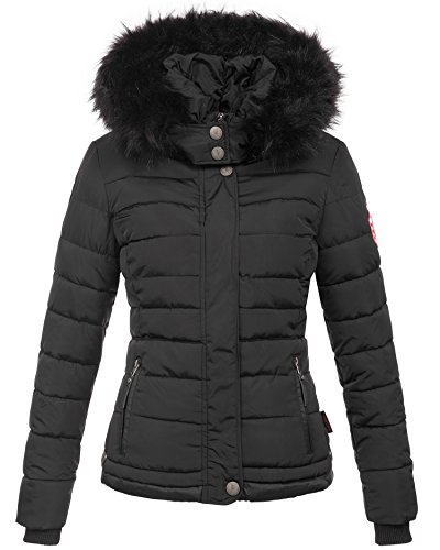 Navahoo warme Damen Winter Jacke Parka Mantel Stepp Kurzjacke gefüttert B301 Schwarz