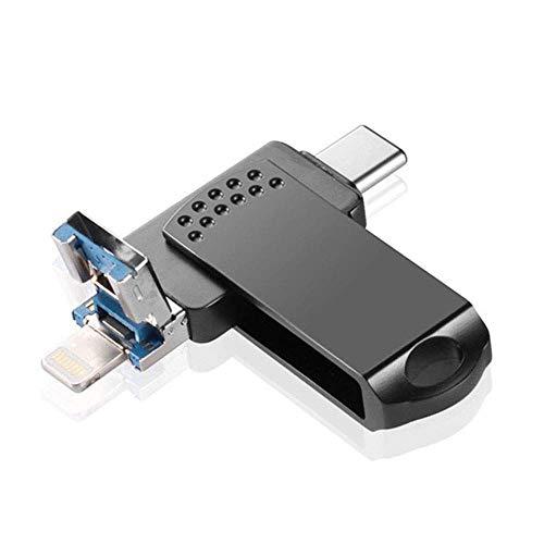 CHUXIANGJIAN High-Speed-3-in-One-USB-Metallrotationshandy U-Disk-Flashlaufwerk Externer Speicher Photo Stick Jump Drive (Farbe : Schwarz, größe : 16G) (16 Drive Jump G)