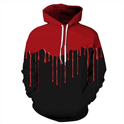 BYWLHNB Halloween Männer & Frauen Hoodies Sweatshirts Hip Hop Pullover Halloween Blut 3D Drucken Harajuku Paar Hoodie Hoody Outwears, Blut, M Blut Hoody