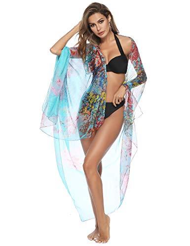 Sykooria Strandtuch Damen Fließen Leicht Schnelltrocknend Leistung Dame Hawaii Sarong Blaue Blume
