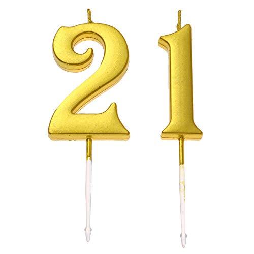 Happyyami 21. Geburtstag Glitter Kuchen Dessert Topper Alles Gute zum Geburtstag Nummer Kerzen Kuchen Topper Dekoration für Erwachsene Kinder Party (Nummer 2 und 1) -