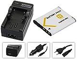 Set de 2en 1pour les Sony Cybershot DSC-W830DSC-W810–-- Batterie pour Sony NP-BN1+ Chargeur 4en 1(entre autres avec USB/Micro USB et Allume-Cigare/voiture) avec PATONA displaypad