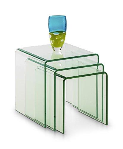 Julian Bowen Amalfi gebogen Couchtisch, Glas, transparent, Glas, farblos, 43 x 43 x 43 cm -
