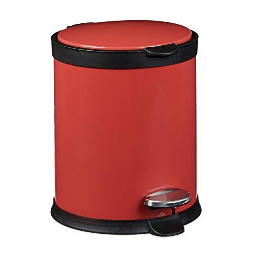 Relaxdays Poubelle ronde à pédale 5 litres Seau amovible vide-ordures avec couvercle en métal optique inox pour la cuisine et la salle de bain Rouge 27,5 x 23 cm