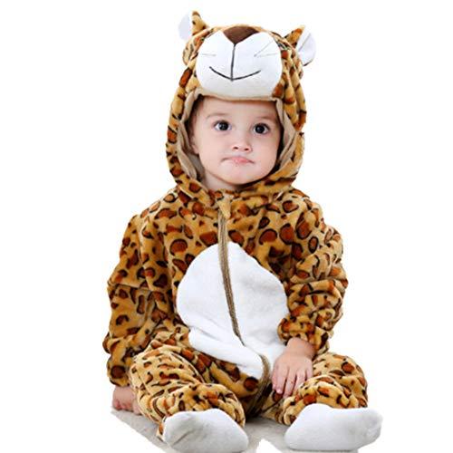 Neugeborene Baby Kapuzenpullover, Schneeanzug, Einteiler für Herbst und Winter, leopard, 80 cm (Leopard Hoodie Kind Kostüme)