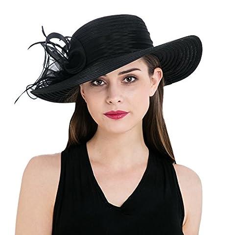 Dantiya Damen Organza Wide Brim Bowler Hut Sommer Strand-Hut Anti-UV Sonnenschutz Kappen Hochzeiten Hut Mit Elegante Blumen