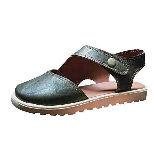 Sommer Schuhe für Damen Damen, Vintage Plain Toe Slip-On Lederschuh, Button Down Solid Color Retro Slingback Rutschfeste Flache Sandalen - Paris Slingback