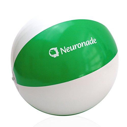 Wasserball 25 - 30 cm Durchmesser von Neuronade, Strandball klein in grün & weiß - Phtalatfreies Wasserspielzeug (1 (Kleine Beach Aufblasbare Ball)