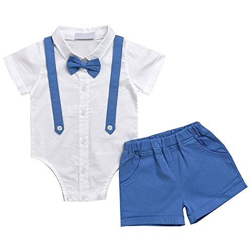 4da559b6f4efe Hzjundasi Garçons Manches Courtes Blanc Chemise + Pantalon Court with  Bowknot Décoration Gentleman Bébé Costume Sets