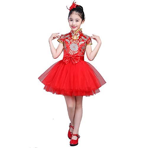YONGMEI Tanzkostüm - Prinzessin Rock Tutu Mädchen Kleid Kleid Host Blumenmädchen Kleid chinesischen Stil verbesserte Kostüm Chorus Kostüm (Farbe : Red, größe : ()