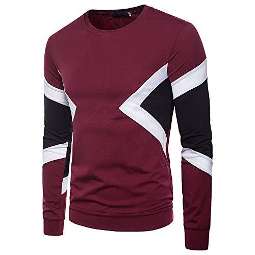WHLWY Kapuzenpullover Freizeit Komfortable Rundhals Herren Dreifarbig Männer Langärmeligen T-Shirt Pullover Gues L