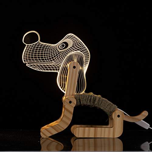Holz-Klapp Neben Leselampe, Justierbare Holz Schreibtisch Tischlampe Mit USB Rechargable, Netten Hunde-Welpen Tier-Nachtlicht Für Kinder Schlafzimmer