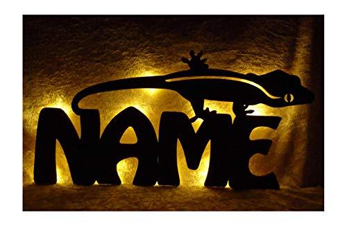 Schlummerlicht24 Led 3d Wand-Deko Gecko Eidechsen + Name Geschenk als Deko-Lampe zum Wohn-Zimmer Wandtattoo verschönern
