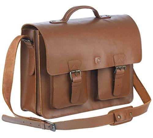 Schoolmaster classic in Cognac, stilvolle Lehrertasche & Aktentasche aus echtem Leder, viele Innenfächer, Umhängetasche für Damen & Herr...