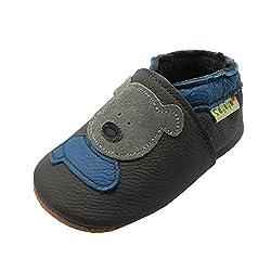 SAYOYO Weicher Leder Lauflernschuhe Krabbelschuhe Babyhausschuhe Kleinkind Lederschuhe Jungen und Mädchen(Grau,6-12 Monate)