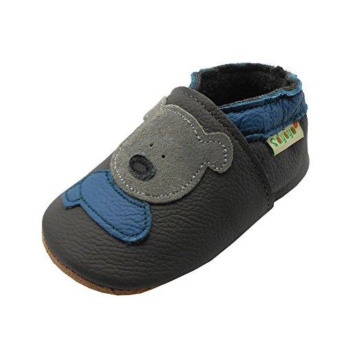 Sayoyo Weicher Leder Lauflernschuhe Krabbelschuhe Babyhausschuhe Kleinkind Lederschuhe Jungen und Mädchen(Grau,12-18 Monate)