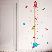 Magracy DIY Pilot Rocket Growth Chart Family Decoration Wall Height Measurement Sticker Kids Room Baby Mural
