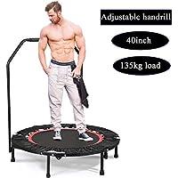 Preisvergleich für Buano Fitness-Trampolin leise Gummiseilfederung Haltegriff Randabdeckung, Nutzergewicht bis 100kg, Trampolin für Jumping