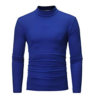 Anglewolf Men's Autumn Winter Pure Color Blouse Turtleneck Top Long Sleeve T-Shirt Casual Sweatshirt Round Neck Sweater for Men Slim Fit Jacket Business Clothes Thicker Overcoat(Blue,XL)