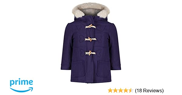 EX M/&S Girls Duffel Coat Wool Mix Toggles Hooded Jacket Cream Fur Age 1-7 Years RRP /£28