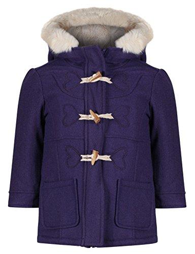 EX M&S Girls Duffel Coat Wool Mix Toggles Hooded Jacket Cream Fur Age 1-7 Years RRP £28