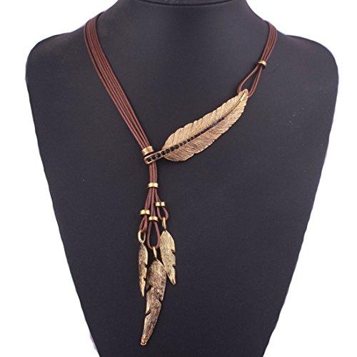 Tpocean Frauen Bohemian Halsband Stil Bronze Seil Kette Feder Anhänger Choker Klobig Erklärung ()