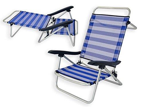JUINSA 8142600 Chaise de Plage Bleu/Blanc 61 x 47 x 80 cm
