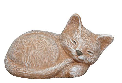 Steinfigur Katze schlafend in Terrakotta, Figur, Deko, Steinguss