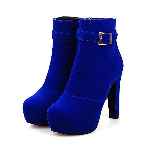 VogueZone009 Donna Bassa Altezza Puro Cerniera Tacco Alto Stivali con Metallo Azzurro
