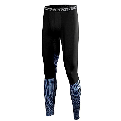 1Bests Men's Athletic Running Basketball Compression Pants Fitness Quick-drying Pants Sports Tights Leggings (XL, Blue arrow net)