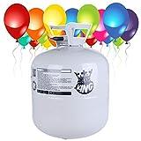 M-import Helium Ballongas XXL 420 Liter – Heliumflasche für 50 Luftballons + 50 Latexballons und DREI Bänder