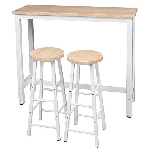 b5ba1d362b79e WOLTU 1x Table de Bar + 2X tabourets de Bar bistrot en MDF Structure en  métal