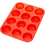 AmazonBasics Lot de 12 moules à muffins et cupcakes en silicone